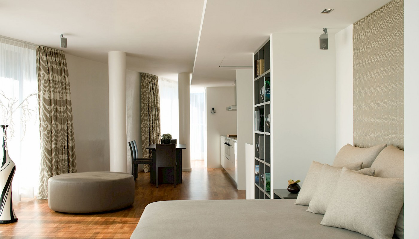 The living space in the Mandala Superior Suite is particularly modern in THE MANDALA HOTEL