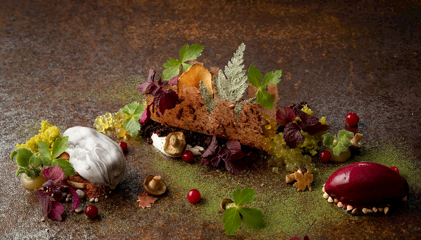 Forest, Jerusalem artichoke, quince, berries and herbs